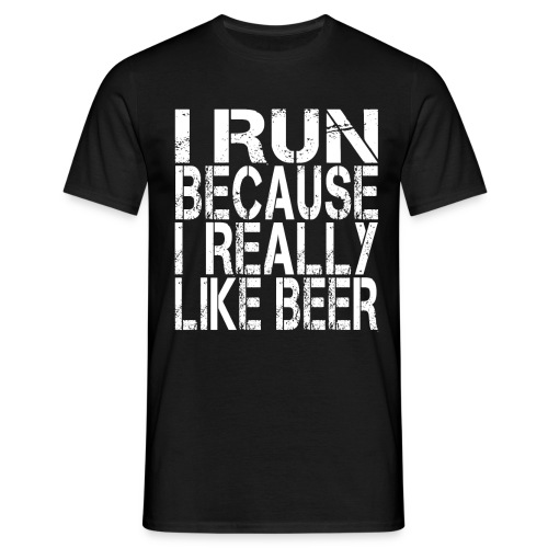 i run because like beer - Maglietta da uomo