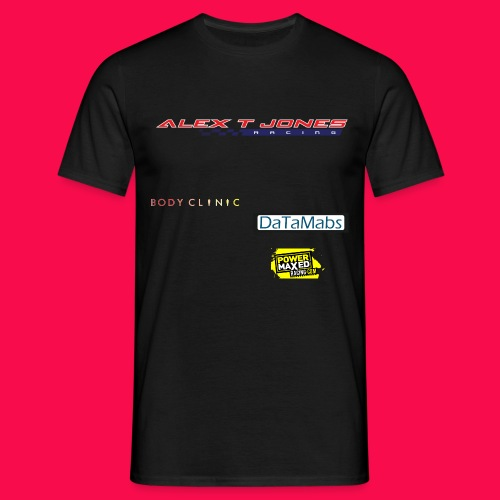 alex t jones racing logo CLEAR BKGD copy png - Men's T-Shirt