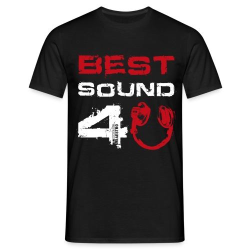 best sound 4u 835d txt white hp red - Men's T-Shirt