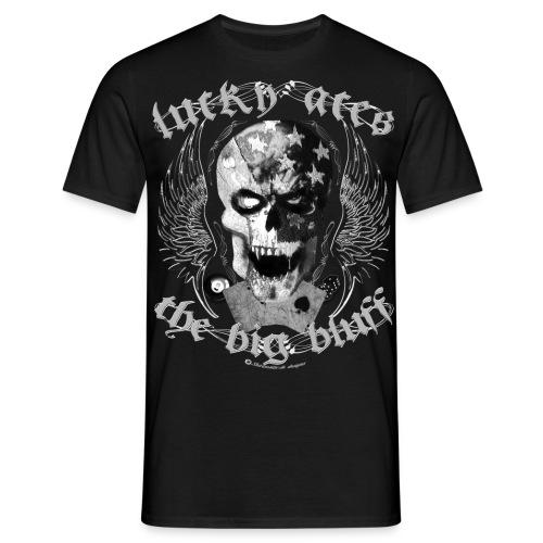 lucky aces gambler big bluff skull wings - Männer T-Shirt