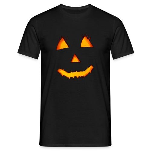 HALLOWEEN Gruselig lächelndes Kürbis Gesicht. - Männer T-Shirt