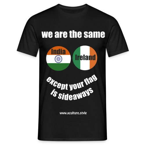 india ireland circles white text png - Men's T-Shirt
