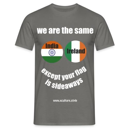 india ireland circles white text png - Men's T-Shirt