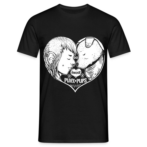 Punk + Hund - Männer T-Shirt