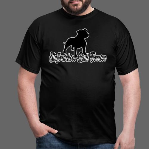 Hvid kant Staffordshire Bull Terrier logo png - Herre-T-shirt