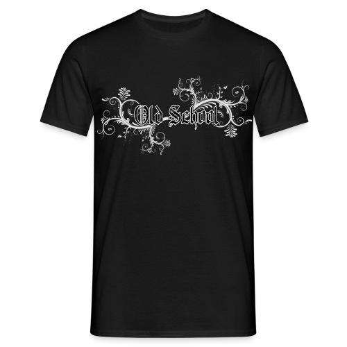 Old School Schrift mit Flowers Verzierung - Männer T-Shirt