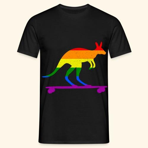 Skater Känguru Longboard Skateboard Regenbogenfahn - Männer T-Shirt