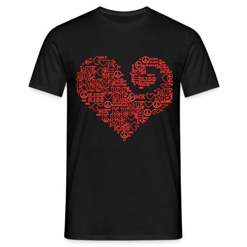 kiss me peace - heart - Männer T-Shirt