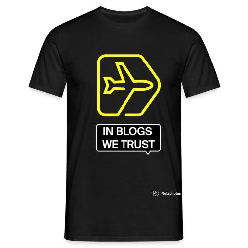 Netzpiloten Logo weiss - Männer T-Shirt