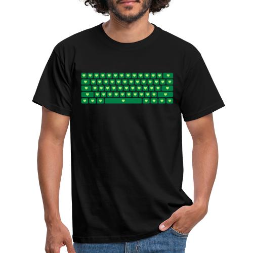 Hearts Keyboard - Mannen T-shirt