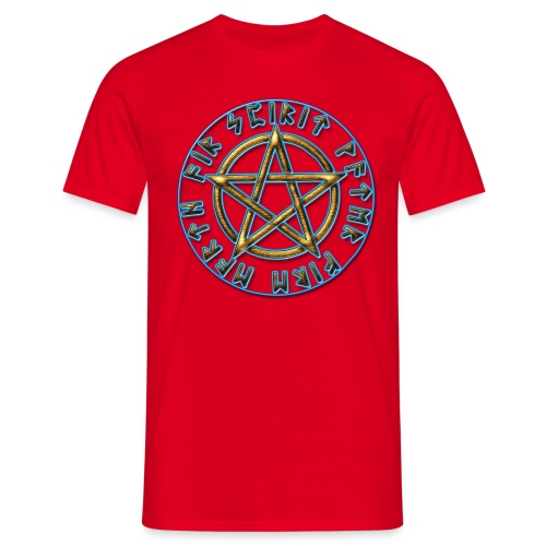 Runen Pentagramm Elemente Schutz Amulett Magie - Männer T-Shirt