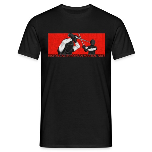 Masked fencers on red - Men's T-Shirt