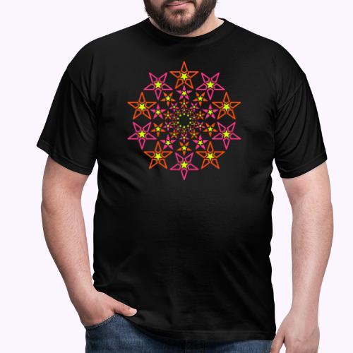 fractal estrella 3 color neón - Camiseta hombre