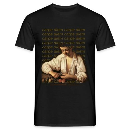 chico pelando fruta con texto - Camiseta hombre