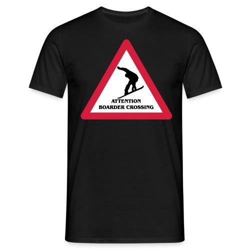 Attention Snowboarder Crossing 2014 - Männer T-Shirt