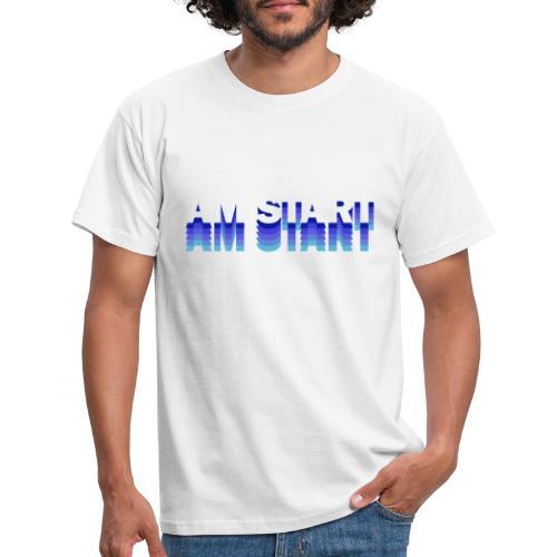 am Start - blau weiß faded - Männer T-Shirt