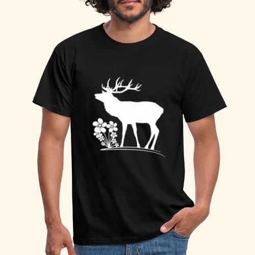 wilder Hirsch mit Blumen, Tiere, Reh, Hirsche - Männer T-Shirt