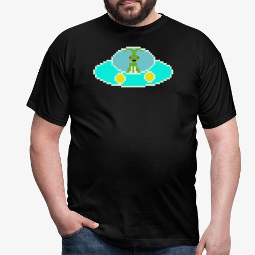Fliegende Untertasse Pixel Art - Männer T-Shirt