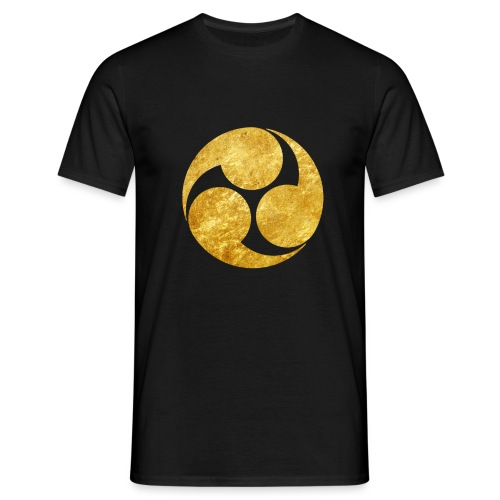 Kobayakawa Mon Japanese clan gold on black - Men's T-Shirt