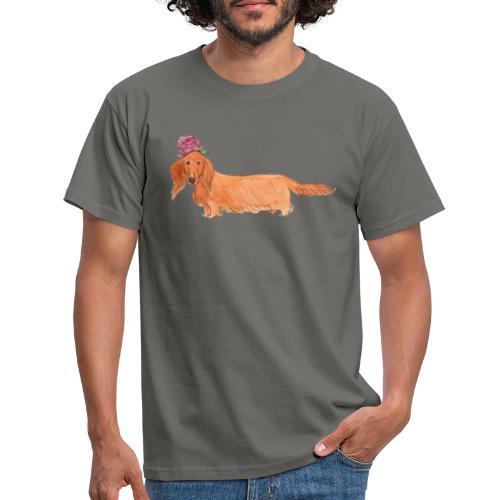 dachshund with flower - Herre-T-shirt