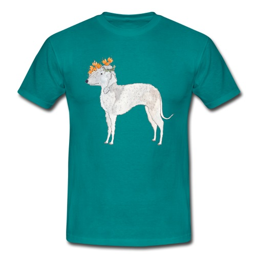 bedlington with flower - Herre-T-shirt