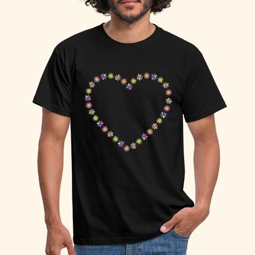 Herz aus Blümchen - Männer T-Shirt