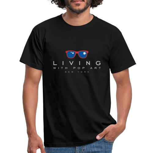 LIVING WITH POP ART BLANC - T-shirt Homme