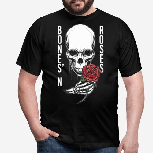 Knochen Rosen Schädel - Männer T-Shirt