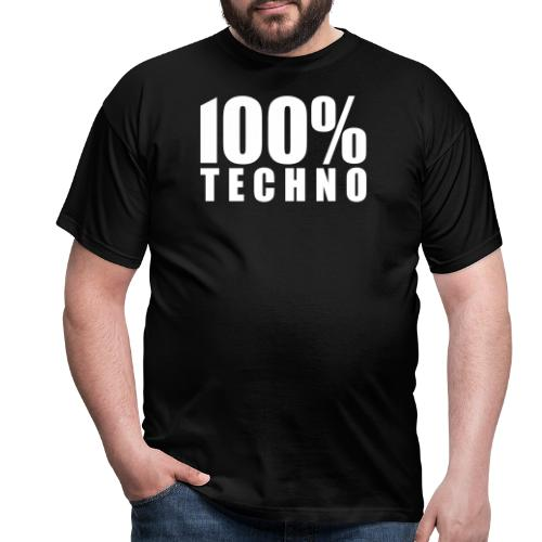 100% Techno Schriftzug Floorfreude Rave Festivals - Männer T-Shirt
