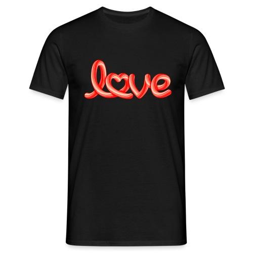 Love script with heart - Männer T-Shirt