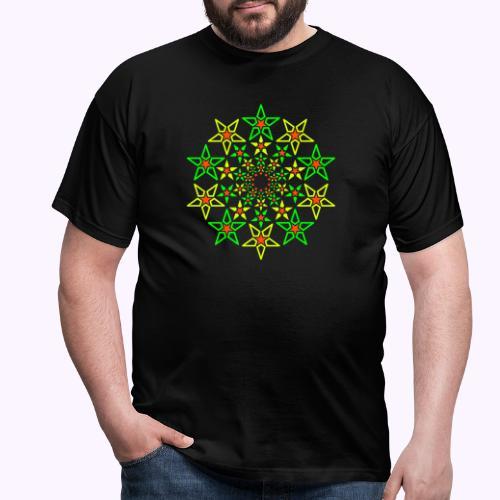 Fractal Star 3 color neon - Mannen T-shirt