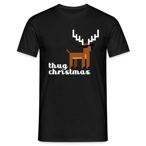 Christmas Xmas Deer Pixel Funny - Men's T-Shirt