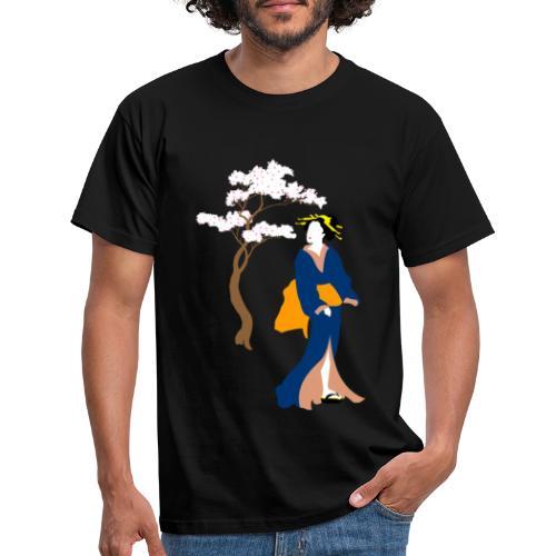 Geisha con cerezo en flor - Camiseta hombre