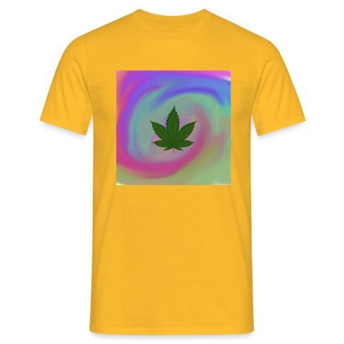 Hanfblatt auf bunten Hintergrund - Männer T-Shirt