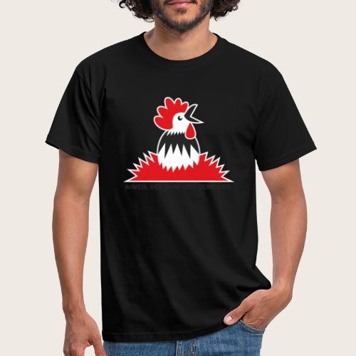 06_Hahn_Eier_Outline_weis - Männer T-Shirt