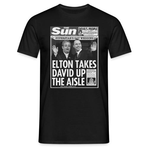 Elton Takes David Up The Aisle FP BW - Men's T-Shirt