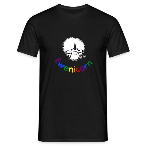Ewenicorn (schwarze Ausgabe Regenbogentext) - Männer T-Shirt