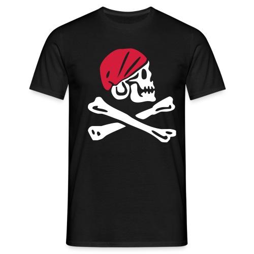 Piratentotenkopf mit rotem Kopftuch - Männer T-Shirt