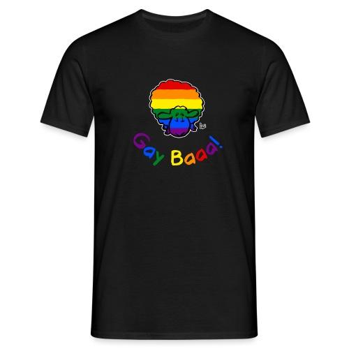 Gay Baaa! Pride Sheep (black edition rainbow text) - Men's T-Shirt