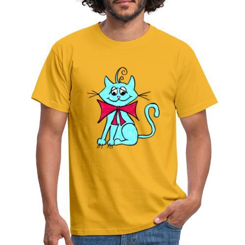 Katze blau - Männer T-Shirt