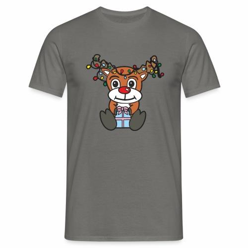Rentier mit Lichterkette - Männer T-Shirt