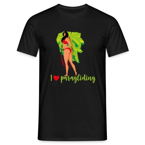 Frau mit Gleitschirm - Männer T-Shirt