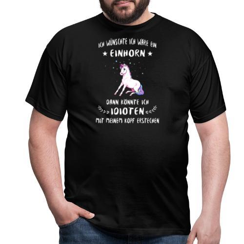 Einhorn gegen Idioten - Männer T-Shirt