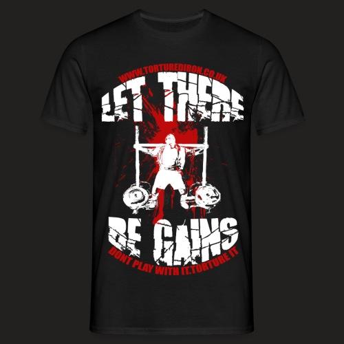 NEWEST LOGO GAINS3333 whiteblood2 png - Men's T-Shirt