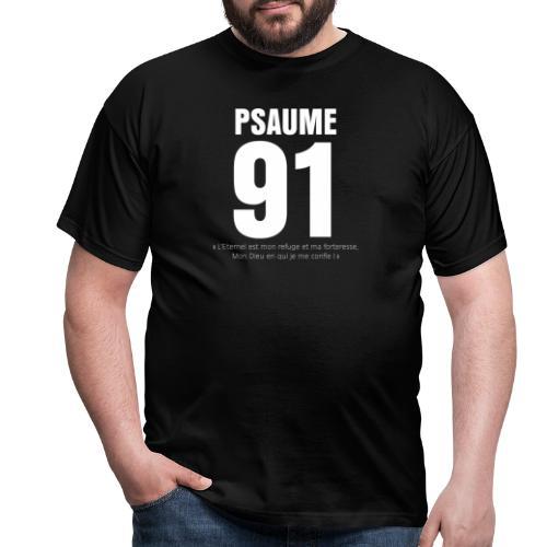Psaume 91 Eternel mon refuge en blanc devant - T-shirt Homme
