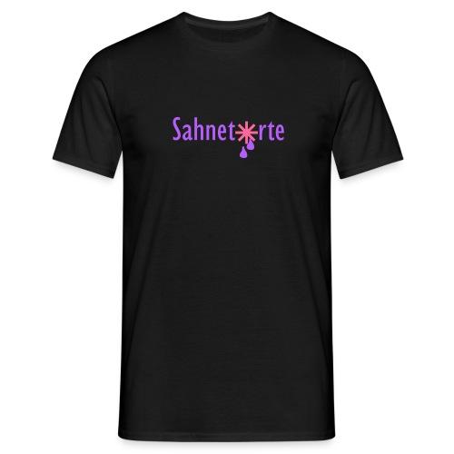 Sahnetorte T-Shirt - hellblaue Schrift - Männer T-Shirt