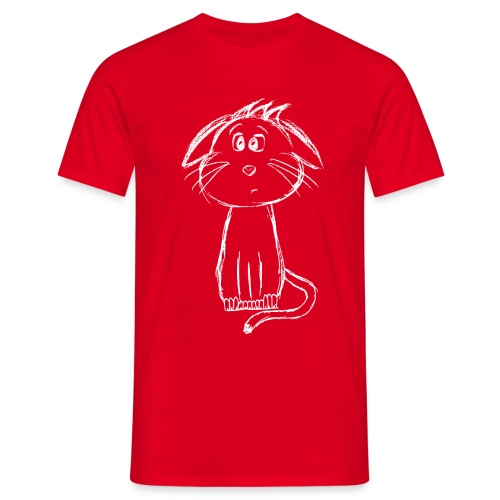 Kissa Kissanpentu valkoinen scribblesirii - Miesten t-paita