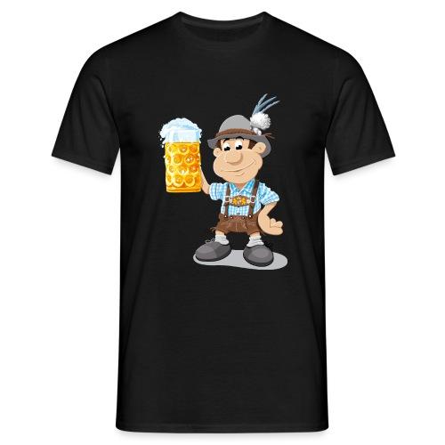 Bier Maßkrug Lederhosen Cartoon Man - Männer T-Shirt
