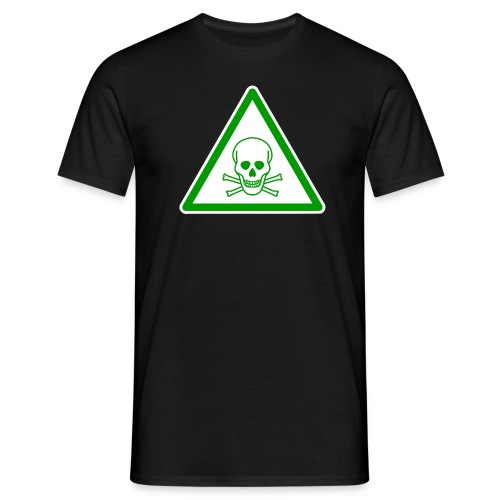 Warnschild Totenkopf grün weiß - Männer T-Shirt