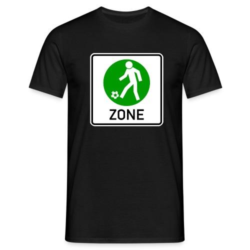 Schild Fußballzone grün weiß - Männer T-Shirt